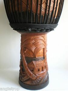 PRO QUALITY MAHOGANY WOOD BONGO DJEMBE DRUM PALM TREE BEACH HUT CARVED 65CM TALL