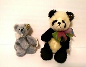 """Lot Of 2 Annette Funicello Mohair Plush Bears, 9"""" Cookie & Cream & 7"""" Grey"""