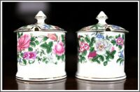 Vintage Crown Stafford Shire Fine Bone China England, Pair Jam/Jelly Jar w/ Lid