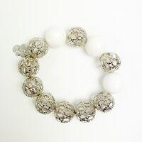 Invicta Women's Bracelet with White Agate Rhodium Plated Silver White Stretch