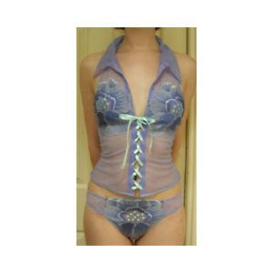 """Ravage """"Florilege"""" Lilac/Turquoise Pansy Halter Neck Lace Up Camisole"""