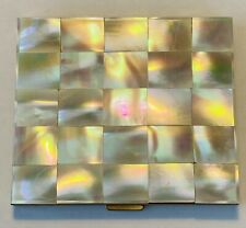 Vintage Mother of Pearl Goldtone Rectangular Powder Compact