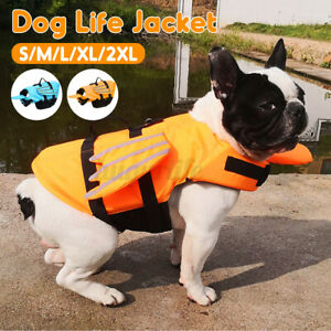 Puppy Pet Dog Life Jacket Safety Vest Reflective Stripe Preserver Swimming