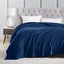 "Sedona House Flannel Fleece Blanket Queen Size 90""x90"", Navy"