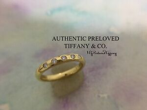 Mint Authentic Tiffany & Co. Elsa Peretti 5 Diamond Stackin Gold Ring #5 RP$1350