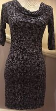 LOFT (size S) Fully Lined Semi-fitted Designer Dress - Navy Blue & Grey