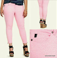 TORRID Womens PLUS Size 24 3X Skinny JEANS Pink LEOPARD Print ZIP Ankle Denim