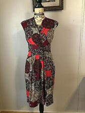 Ellen Tracy Dress Sz 10 Paisley Faux Wrap Career Casual Lord and Taylor Lined