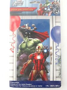 "NOS Marvel Avengers Thor Hulk Ironman Door Decoration 32.5"" x 59"""