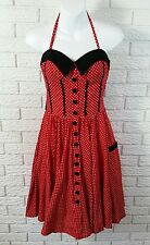 Hell Bunny Vixen Rockabilly Retro Dress S Red Black Polka Dot Pin Up