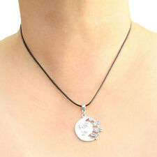 Moon Kissing Sun Charm Pendant Necklace with Black Cord