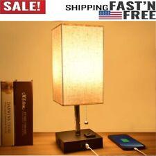 USB Table Lamp, Modern Bedside Lamp w USB Port Warm LED Bulb Included