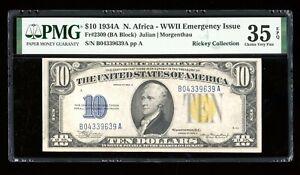 DBR 1934-A $10 North Africa Silver Fr. 2309 PMG 35 EPQ Serial B04339639A
