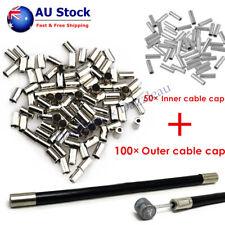 100PCS 5mm Brake Gear Shifter Cable Housing Ferrule Cap + 50PCS Inner Cable End