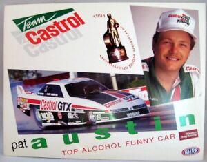 """Vintage 1992 Pat Austin/Castrol Racing 8.5"""" x 11"""" Handout Postcard"""