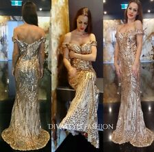 Rose Gold Sequin Formal Gown Off Shoulder Cocktail Prom Ball Long Evening Dress