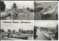 """Ansichtskarte """"Weisse Flotte"""" - Potsdam - Schiff mit Passagieren - schwarz/weiß"""