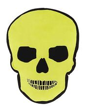 SKULL SHAPED BRIGHT GREEN BLACK FILLED CUSHION 42CM X 42CM