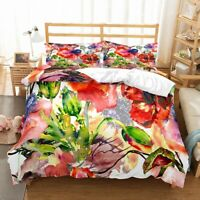 3D Watercolor Flowers Bedding Set Duvet Sheet Cover Comforter Cover PillowCase