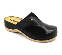 LEON 912 Ladies Women Leather Slip On Mules Clogs Slippers Sandals, Black New UK