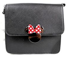 Disney Black crossbody strap fold over flap Minnie Mouse Bow magnetic snap Nwt