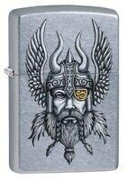 Zippo Viking Warrior Design Street Chrome Windproof Pocket Lighter, 29871