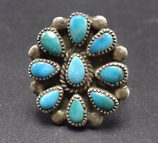 Vintage NAVAJO Sterling Silver & TURQUOISE Petit Point Cluster RING, size