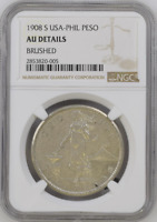 :1908-S 1-PESO .800-SILVER USA-PHILIPPINES KM# 168 NGC AU-DETAILS HIGHEST-GRADES