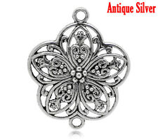 5 Connecteurs Fleur Argent Antique ~ 38mmx31mm ~ ~ ~ bracelets collier boucle d'oreille (42a)