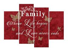 "FAMILY QUOTE CANVAS ARTWORK PICTURE MULTI 4 PANEL 40"" X 28""  (100CM) - RED TONES"