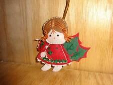 Vintage Felt Girl Angel Poinsettia Wings Holiday Christmas Tree Ornament