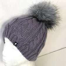 North Face Beanie S Yth/Jr Kids Cable Knit Oh-Mega Knit Faux Fur Pom Pom Purple
