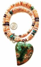 NATURAL ORANGE SPINY OYSTER SHELL TURQUOISE NECKLACE W/RARE AGATE HEART PENDANT