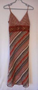 B. Moss Spaghetti strap tie back dress Size 6 lined beaded brown orange