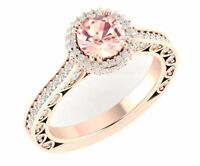 Vintage Like 3Ct Pink Morganite CZ Halo Engagement Ring Silver in Rose Gold Fnsh