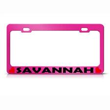 Savannah W/ Hearts Hot Pink Metal License Plate Frame