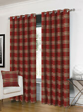 Luxurious Ring Top Eyelet Lined Plaid Check Ready Made Curtain Pair - 5 Colours Wine 66 X 72 Inches