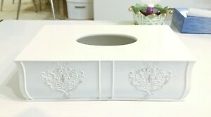 Creative Scents Vintage White Floral Tissue Box Napkin Holder