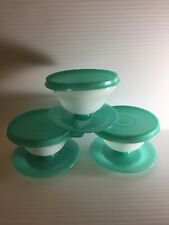 Lot Of 3 Vintage Tupperware Dessert Pudding Jello Cups With Lids