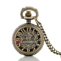 Vintage Bronze Arabic Number Pocket Watch Pendant Necklace Quartz Chain Gift UK