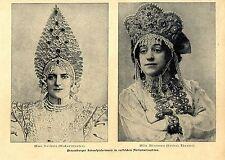 Mme. Balletta Mme. Miranova Pertersburger Schauspielerinnen Nationaltracht 1905