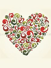 PAINTING ABSTRACT LOVE HEART SHAPE INSET RED SWIRL VECTOR POSTER PRINT LV6167