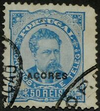 Azores 1882 Sc#52 - 50r Blue Overprinted Used Vf