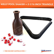 2-1/16 INCH 8BALL POOL SNOOKER TRIANGLE RACK + KELLY POOL SHAKER WITH MARBLES