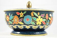 Vtg Retro Blue Polka Dot Footed Lidded Floral Metal Tin Container England