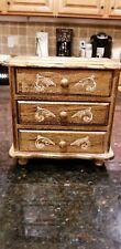 Vintage Wood 3 Drawer Florentine Gold Japan Jewelry Music Box Plays FASCINATION