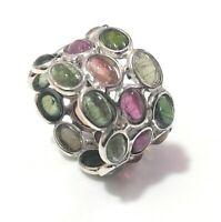 Gemstone Handmade Multi Tourmaline Natural 925 Sterling Silver Ring Size 7