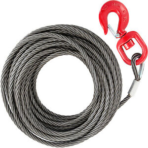 2T Wire rope winch cable 10mm*15m self locking swivel hook Tow Truck Flatbed