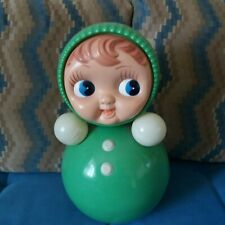 Huge Vintage Russian Nevalyashka Celluloid Plastic Music Roly Poly Toy Doll 35cm