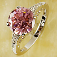 Wedding Pink White Topaz Gemstone Jewelry Silver Ring Size 6 7 8 9 10 11 12 13